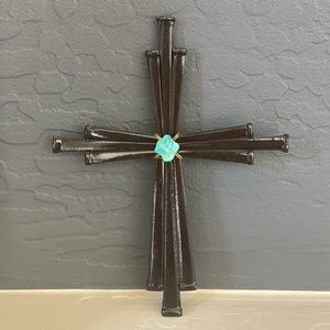Railroad Spike Cross with Turquoise Stone